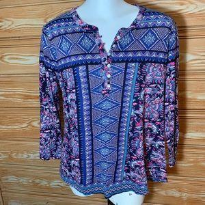 Lucky Brand Womens Hippie Paisley Shirt Sz L Top